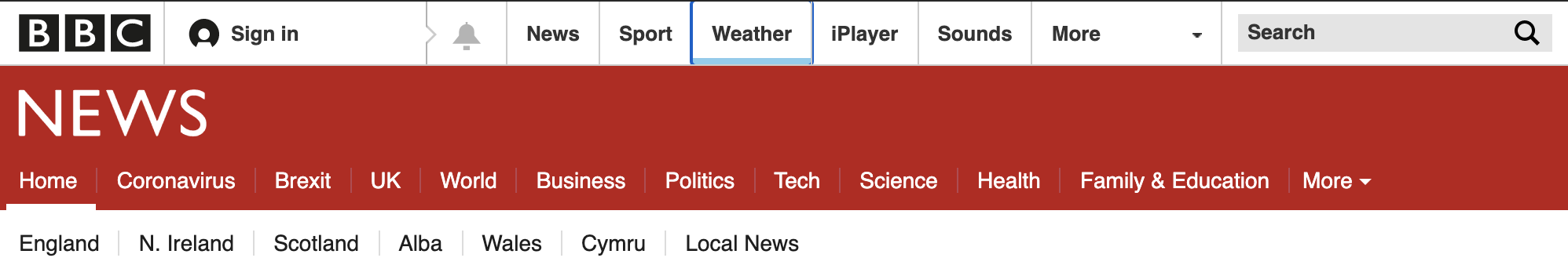 BBC News website header showing highlighted navigation element