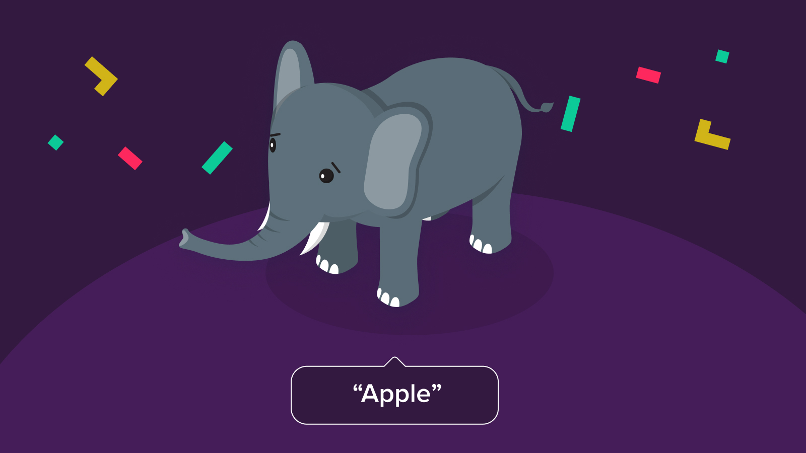 """An elephant picture with incorrect alternative text which says """"apple"""""""